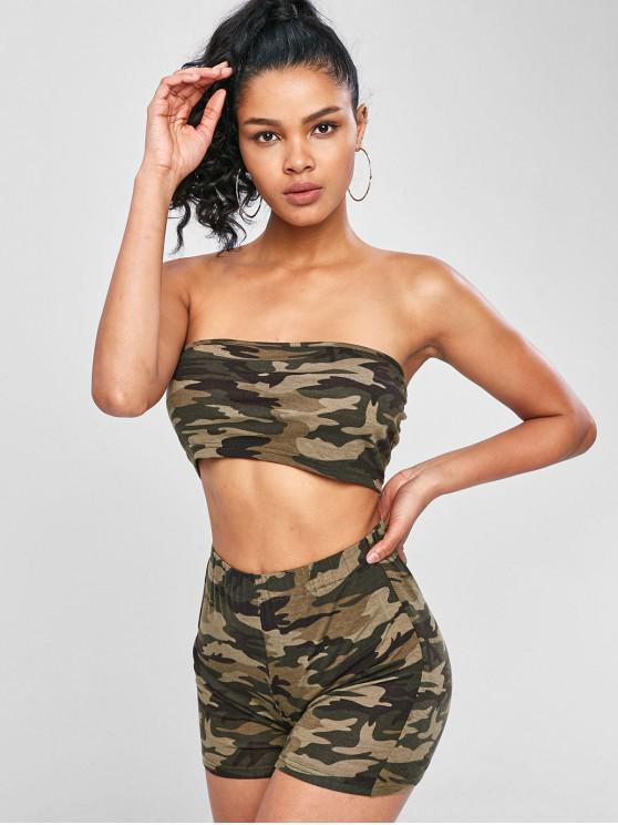 Camo Print Bandeau Top e Shorts Matching Set - ACU Camuflagem S