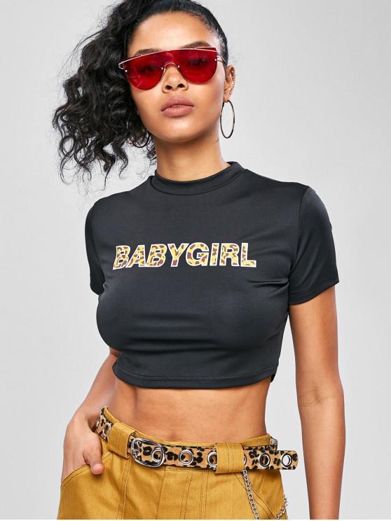 hot Crop Babygirl Graphic Gym Tee - BLACK L