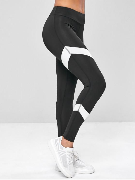 outfits Two Tone Gym Workout Elastic Leggings - BLACK M