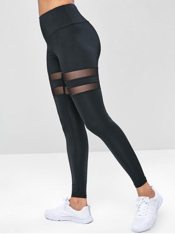 trendy Wide Waistband Mesh Insert Gym Leggings - BLACK L