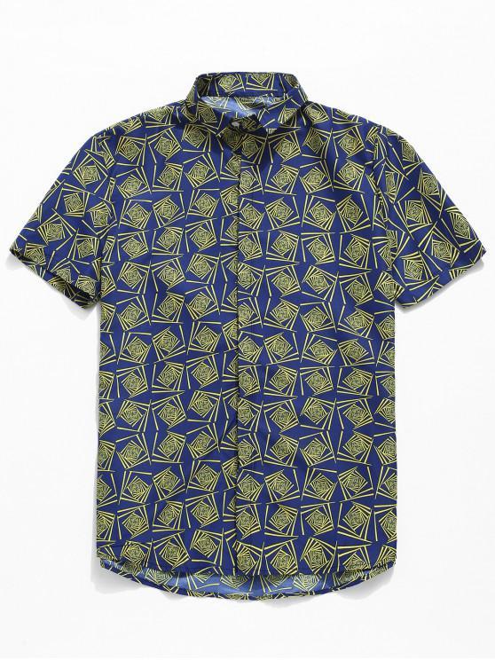 ladies Geometric Print Short Sleeve Shirt - BLUE 3XL