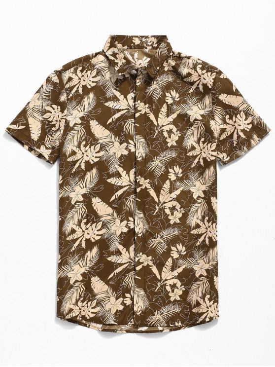 fashion Tropical Print Button Up Short Sleeve Shirt - KHAKI L