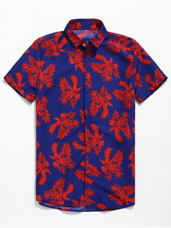 lady Button Up Flower Print Short Sleeve Shirt - BLUE 3XL