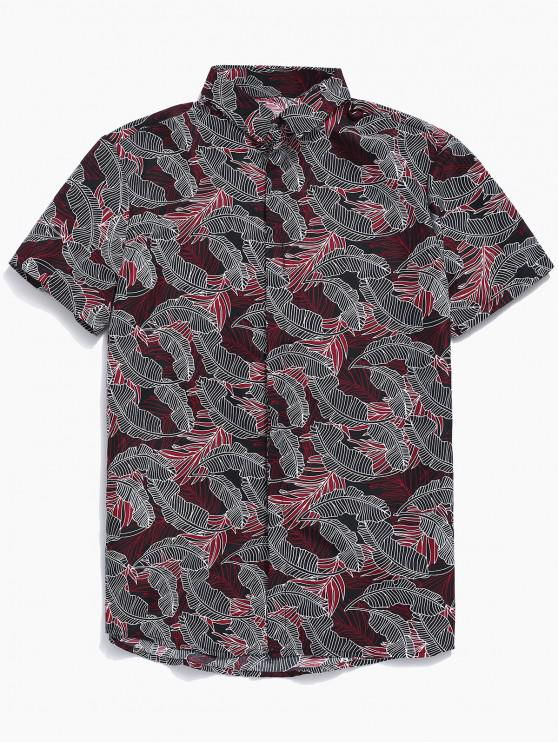 best Button Up Tropical Leaf Print Shirt - RED M