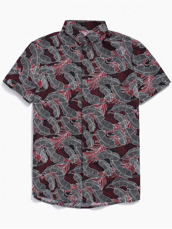 Camicia con stampa a foglie tropicali button-up - Rosso XL
