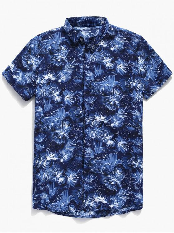 women's Flower Print Button Up Shirt - BLUE 3XL