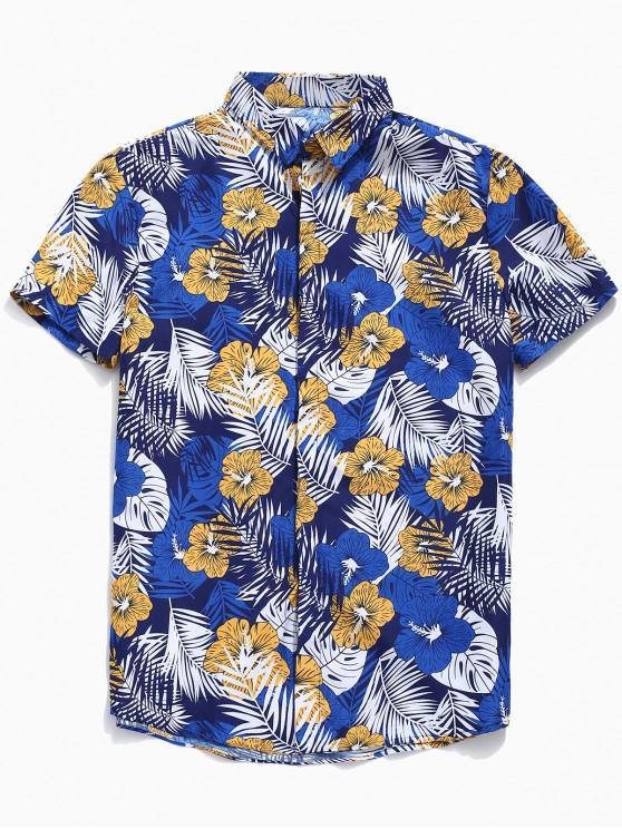 hot Tropical Leaf and Flower Print Shirt - BLUE M