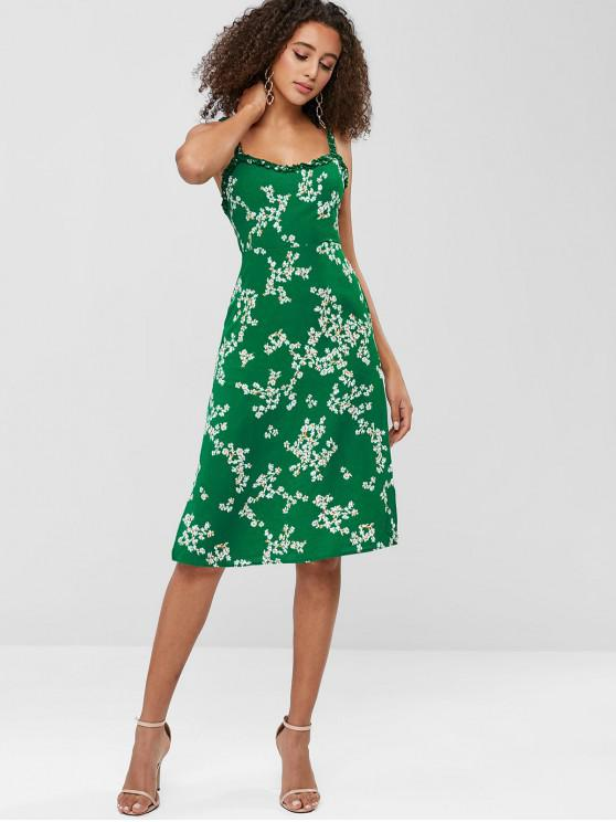 5d1e473212a 32% OFF  2019 Frilled Side Slit Floral Dress In GREEN