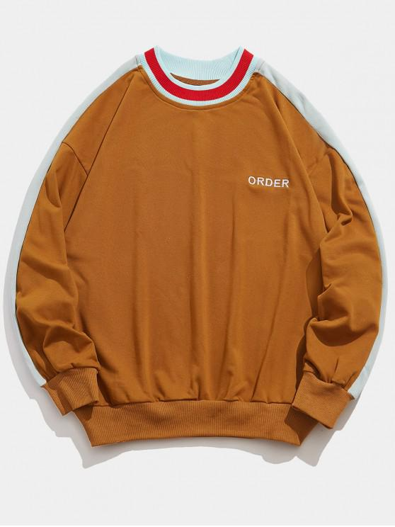 new Letters Printed Panel Pullover Casual Sweatshirt - LIGHT BROWN 2XL