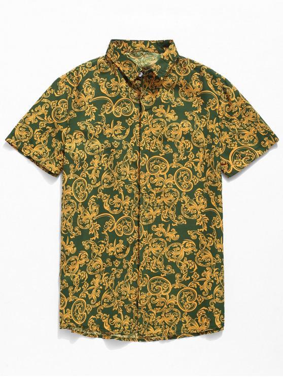 women's Leaf Print Button Up Shirt - GREEN M