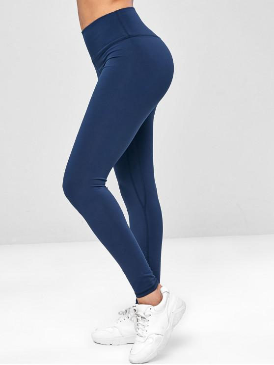 shop Elastic Wide Waistband Yoga Gym Leggings - CADETBLUE L