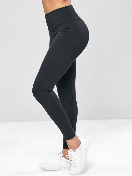 hot Elastic Wide Waistband Yoga Gym Leggings - BLACK L