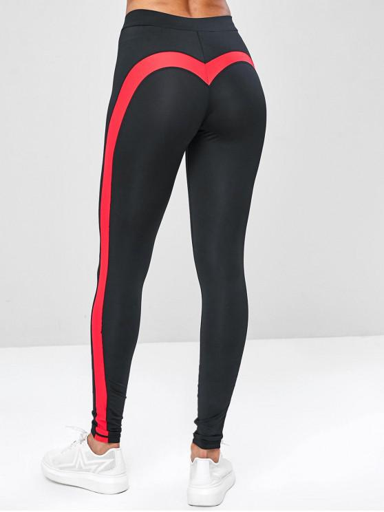 trendy Two Tone Contrast Yoga Gym Leggings - BLACK S
