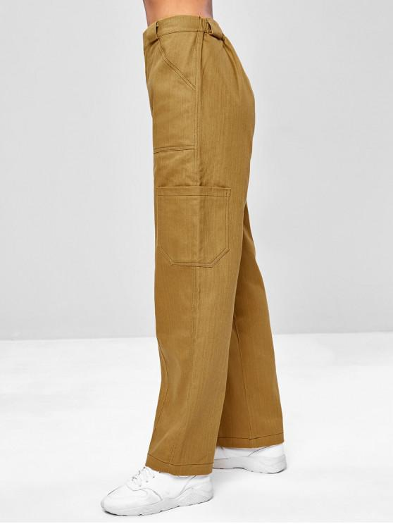 outfit Wide Leg Pocket Casual Pants - ORANGE GOLD M