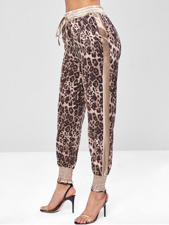 outfits Leopard Print Satin Joggers Pants - LEOPARD M