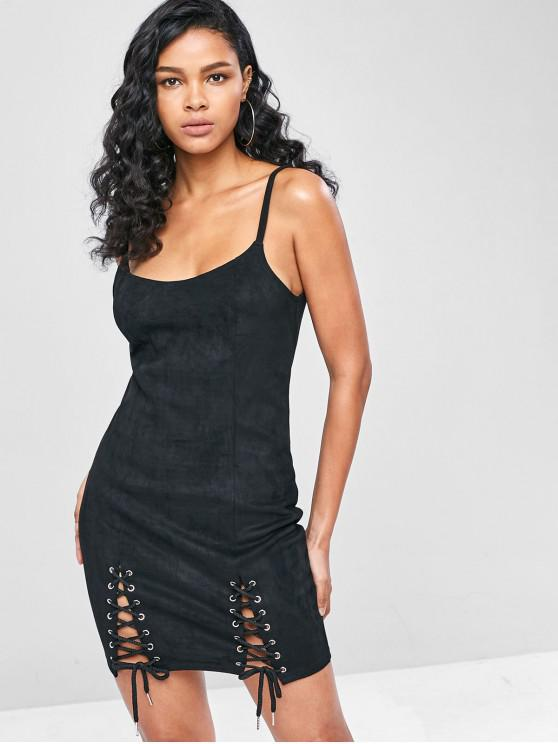 trendy Lace Up Faux Suede Bodycon Dress - BLACK M