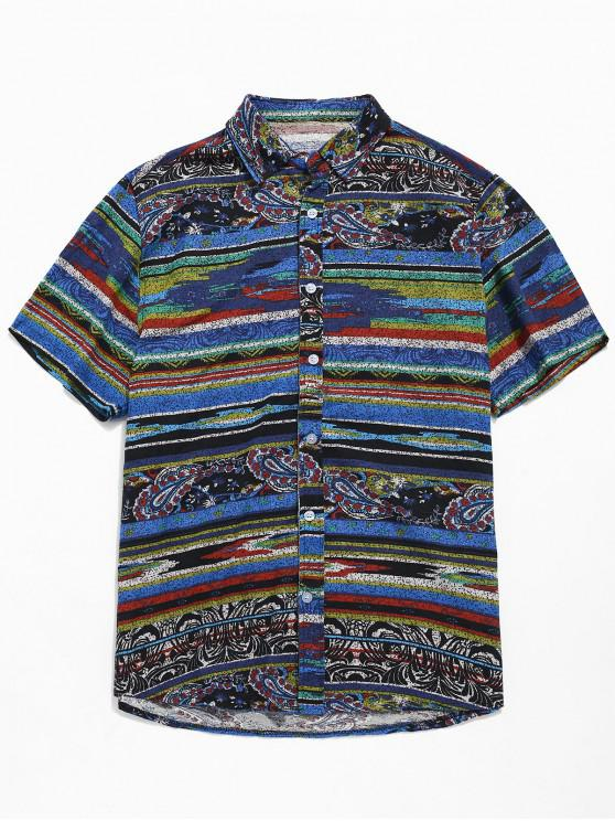 unique Stripe Paisley Print Soft Shirt - BLUE XS