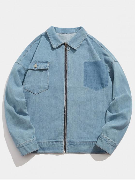 ladies Solid Color Letter Print Jean Jacket - BLUE KOI XL