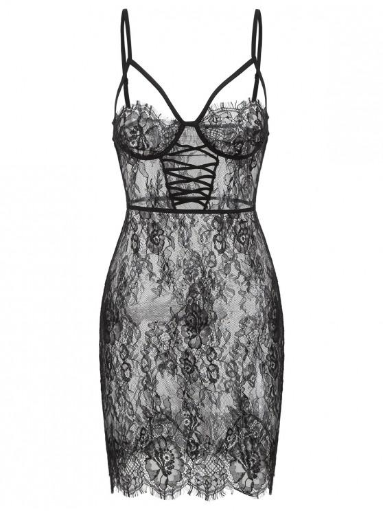 outfits Criss Cross Strappy Lace Lingerie Dress - BLACK M