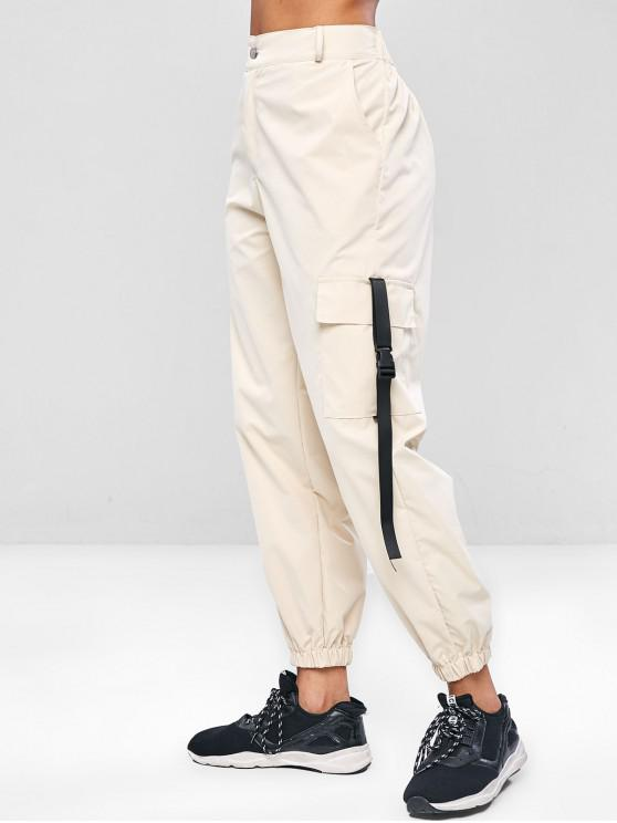 ZAFUL Zipper cargo pantalones - Blanco Antiguo M