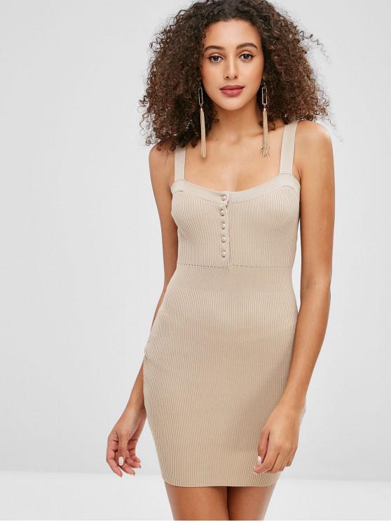 sale Ribbed Button Scoop Neck Bodycon Dress - LIGHT KHAKI S