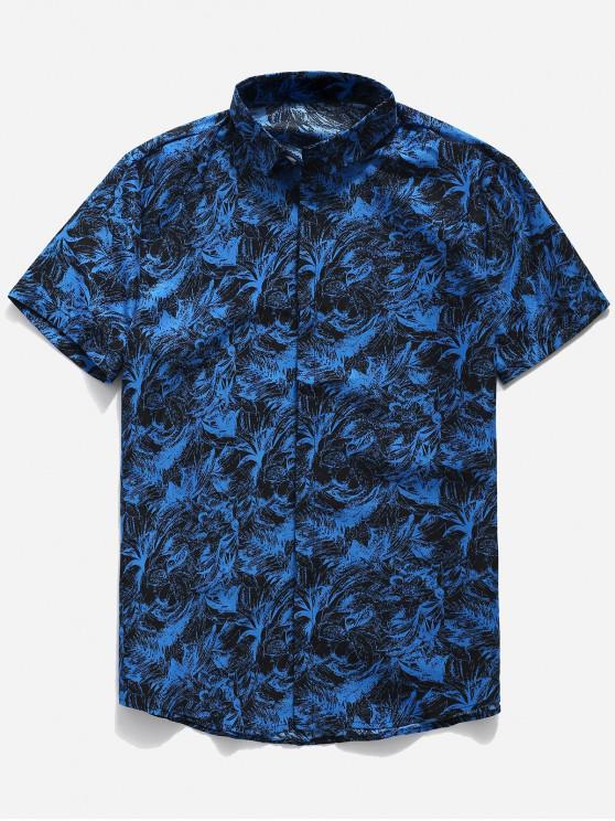 hot Palm Leaf Print Button Up Shirt - BLUE L
