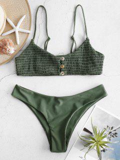 ZAFUL Shirred Cami Bralette Bikini Set - Camouflage Green M