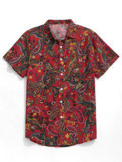Paisley Print Short Sleeve Shirt - Red M