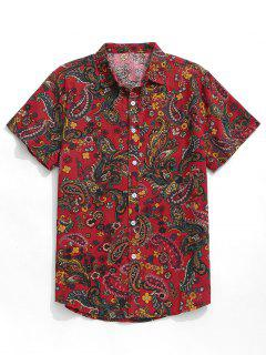 Paisley Print Short Sleeve Shirt - Red L