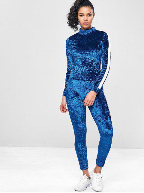Zweifärbiges Velvet- Gym -Schweiß -Anzüge - Blaubeere L Mobile