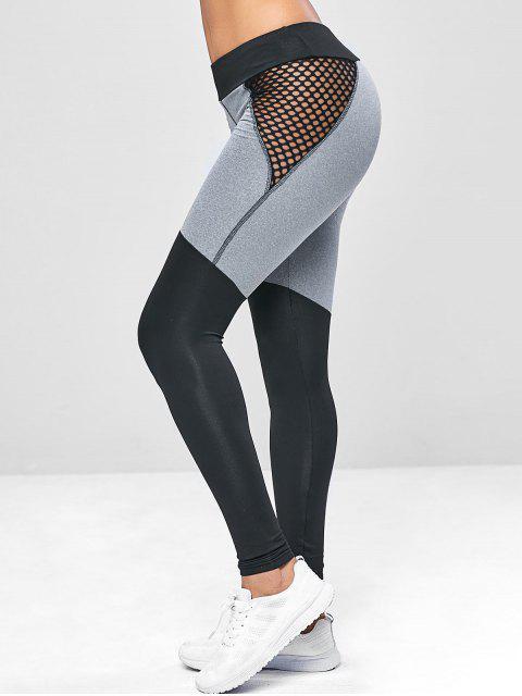 Mallas de yoga de malla de dos tonos - Negro L Mobile