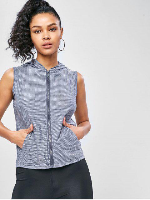 Pocket Zip Hooded Gym Tank Top - Gris Azulado S Mobile