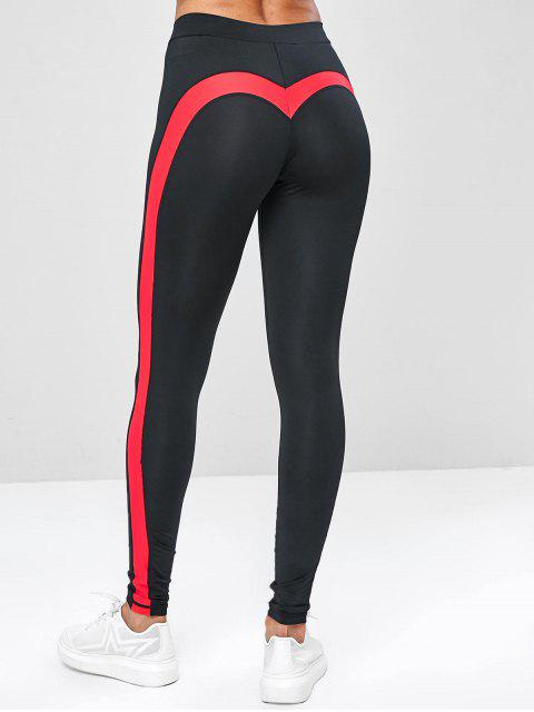 trendy Two Tone Contrast Yoga Gym Leggings - BLACK S Mobile