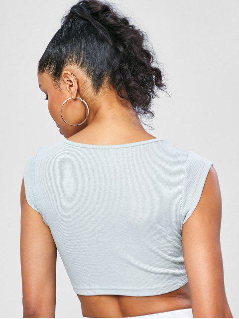 Gestricktes Gymnastik-T-Shirt - Hellblau Lilie L Mobile