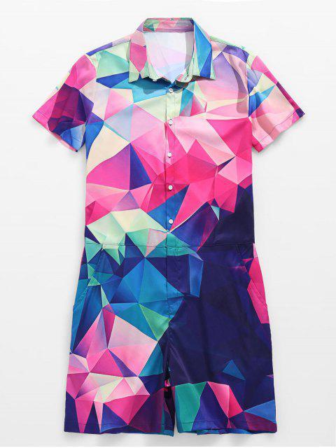 outfit 3D Color Block Geometric Print Romper - PINK CUPCAKE 3XL Mobile