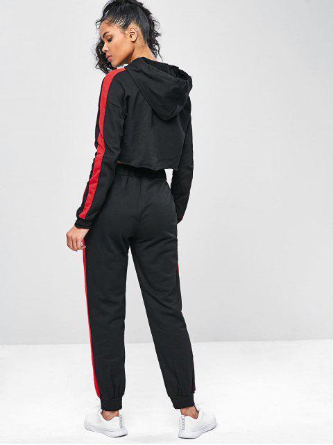 Zweifärbiges Gym - Kapuzenpullover und Hosenanzug - Schwarz M Mobile