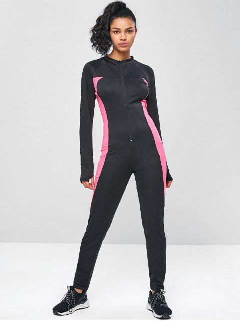chic Long Sleeve Zip Two Tone Gym Jumpsuit - BLACK S Mobile