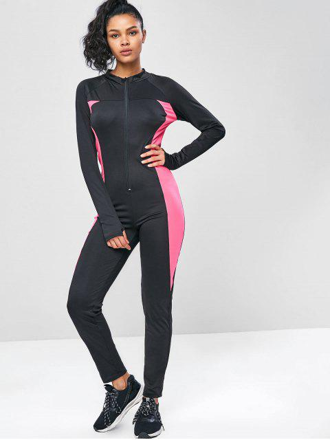 unique Long Sleeve Zip Two Tone Gym Jumpsuit - BLACK L Mobile