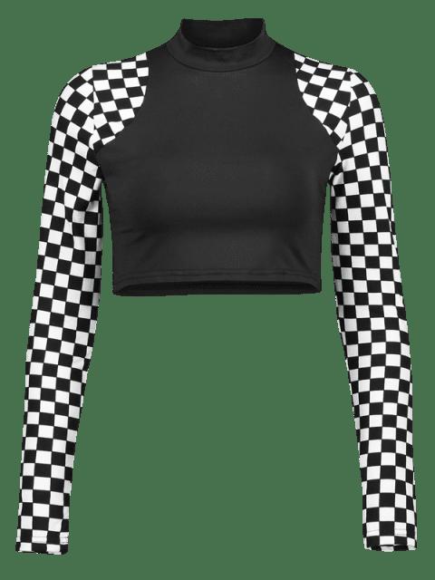 Karierte Ärmel -Gym -T-Shirt - Schwarz L Mobile