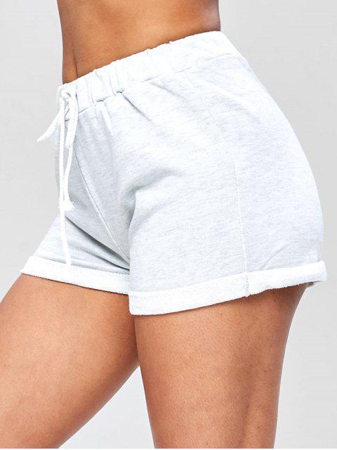 Pantalones cortos de dobladillo con cordón casual - Gris Claro S Mobile