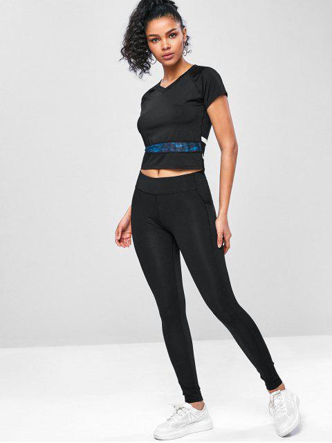Trainieren- Perforierte Fitness -T-Shirt - Schwarz L Mobile