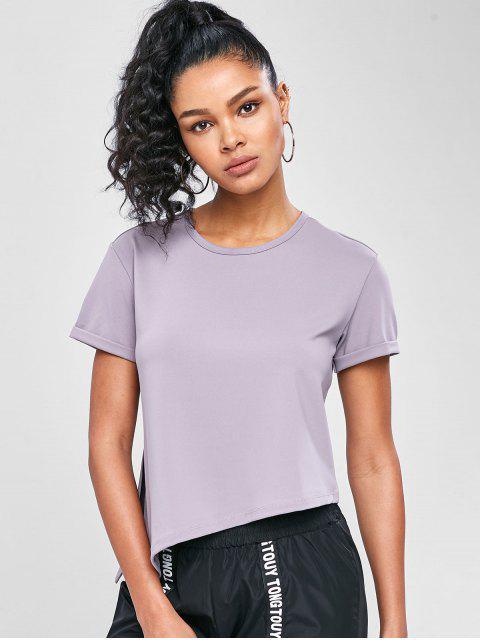 Asymmetrisches Fitness-T-Shirt mit Seitlichem Schlitz - Glyzinie Lila M Mobile