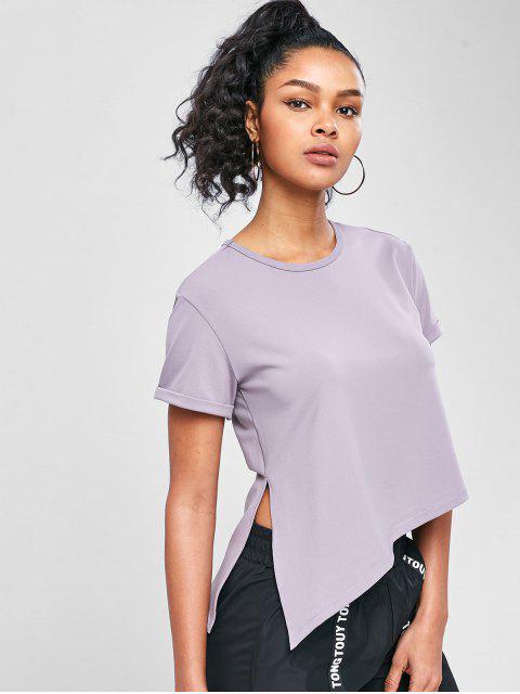 Asymmetrisches Fitness-T-Shirt mit Seitlichem Schlitz - Glyzinie Lila L Mobile