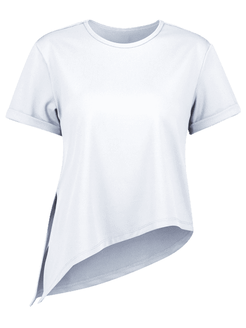 Asymmetrisches Fitness-T-Shirt mit Seitlichem Schlitz - Hellblau Lilie M Mobile