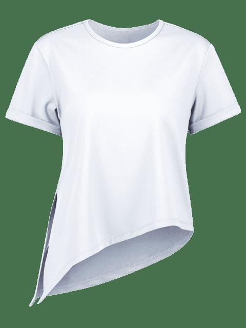 Asymmetrisches Fitness-T-Shirt mit Seitlichem Schlitz - Hellblau Lilie L Mobile