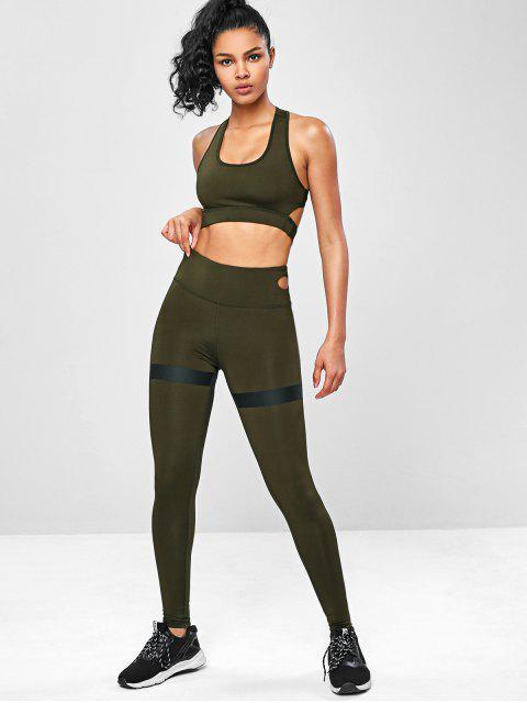 Racerback- Fitness-Yoga-Anzüge mit Ausschnitt - Armeegrün L Mobile