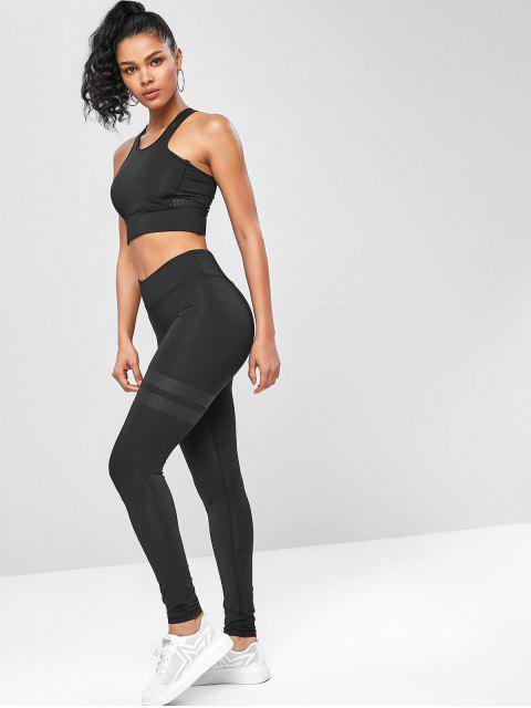 Racerback -Yoga- Gymnastikanzüge mit Hoher Taille - Schwarz S Mobile