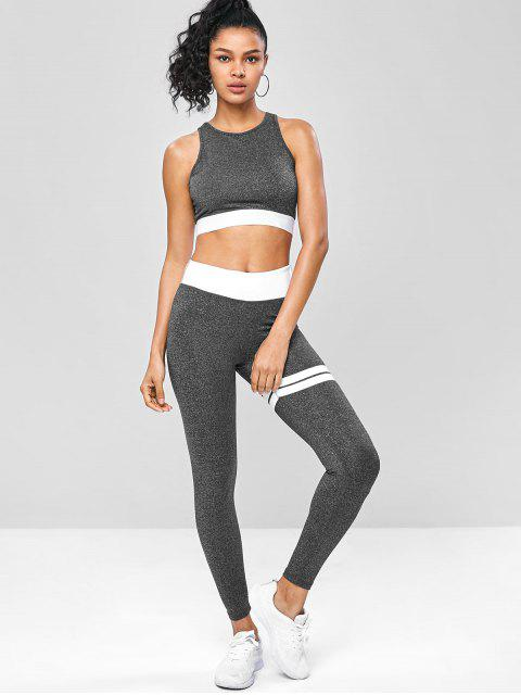 Marmorierte Fitness-Yoga-Anzüge mit Ausschnitt - Dunkelgrau S Mobile