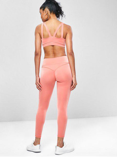Kreuze  Schlüsselloch- Trainieren- Yoga- Anzüge - Basketball Orange L Mobile