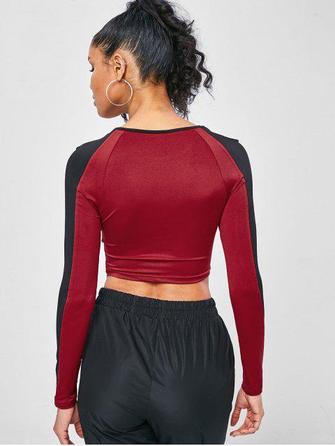 Zweifärbiger Sport-T-Shirt - Roter Wein L Mobile